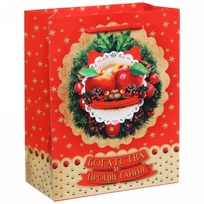 Пакет подарочный 14х18 см вертикальный ″Богатства и процветания″, Яблочный праздник купить оптом и в розницу