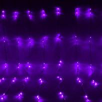 Занавес светодиодный ш 2 * в 2,5м, 672 лампы LED, ″Водопад″, Фиолетовый, 8 реж, прозр.пров. купить оптом и в розницу