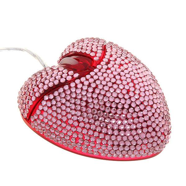 Мышка для компьютера USB A01 Сердце Стразы розовые купить оптом и в розницу