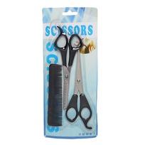 Ножницы филировочные и простые в наборе с расческой мужской, цвет черный купить оптом и в розницу