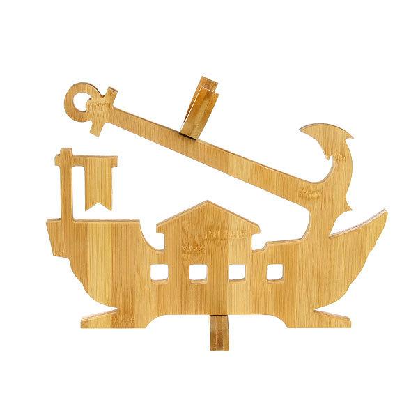 Подставка декоративная бамбуковая под бутылку ″Корабль″ 32*23*1,5 см купить оптом и в розницу