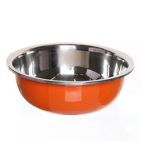 Миска металлическая 27 см 3000 мл оранжевая купить оптом и в розницу