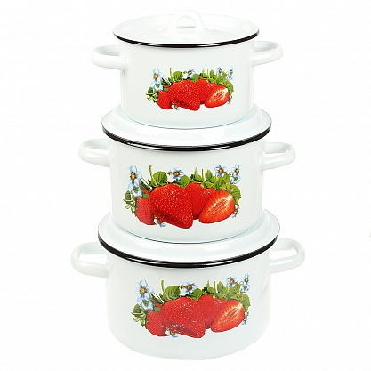 Набор посуды эмалированной 3 предмета ″Клубника садовая″ (1,5л, 3л, 4,5л) №33 белоснежная купить оптом и в розницу