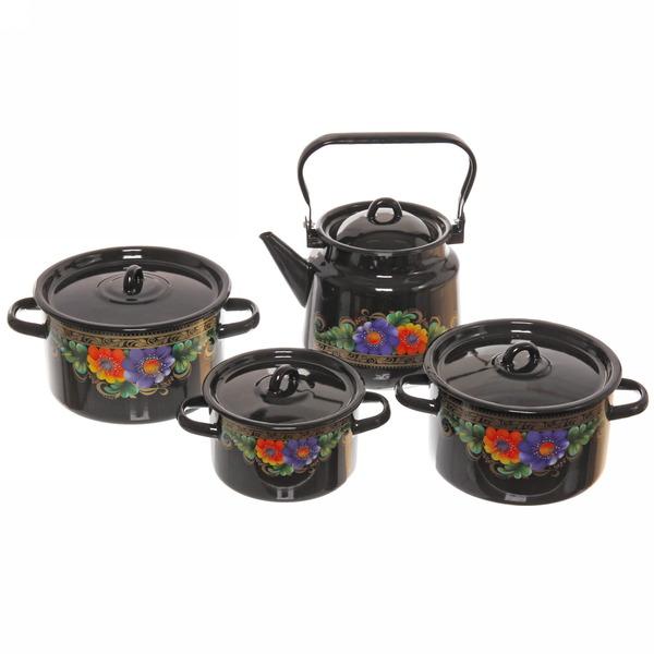 Набор посуды эмалированной 4 предмета ″Вологда″ (1,5л, 3л, 4,5л, чайник3,5л) чёрный №142 купить оптом и в розницу