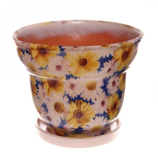 Горшок для цветов керамический 2,0 149-63н, ромашки синие купить оптом и в розницу