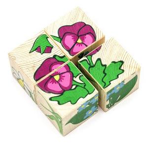 Дер. Кубики 4шт Цветочки 3333-7 купить оптом и в розницу