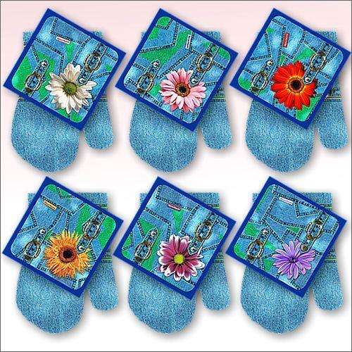 Прихватка в наборе с варежкой ″Джинс-цветы″ 6 дизайнов, FS22-75JG купить оптом и в розницу