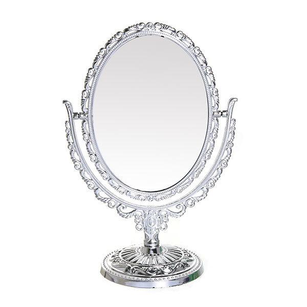 Зеркало настольное в пластиковой оправе ″Версаль - Овал″ цвет серебро, двухстороннее 30см купить оптом и в розницу