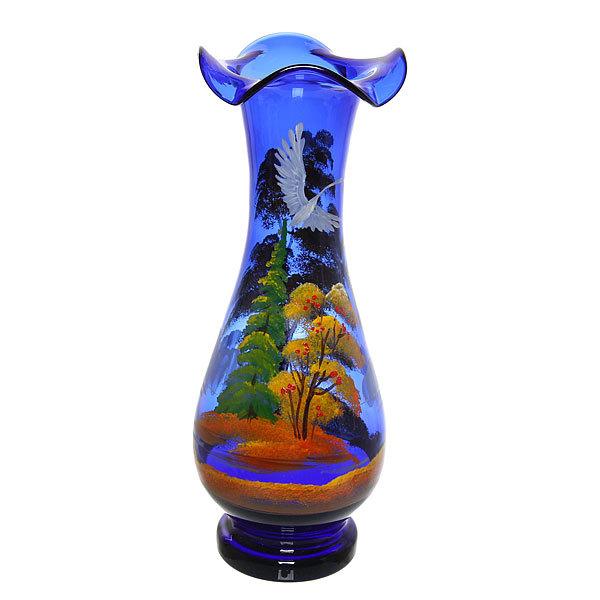 Ваза стеклянная 30см синяя, ручная роспись С-56 купить оптом и в розницу