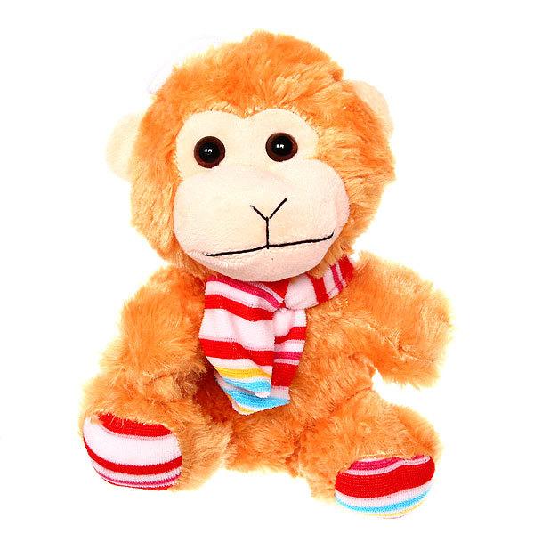 Игрушка мягкая Обезьяна, 20 см с шарфом в полоску купить оптом и в розницу