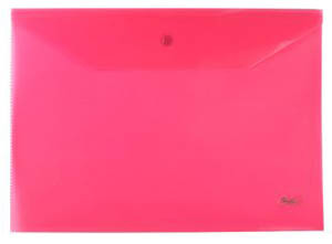 Папка-конверт Пластиковая на кнопке А4ф Hatber 180мкм красная купить оптом и в розницу