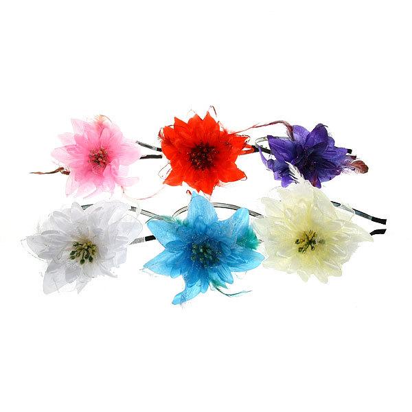 Ободок для волос ″Цветок с блестками″, цвет микс купить оптом и в розницу
