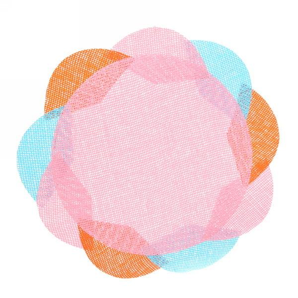 Салфетка на стол 38см плетеная, Цветок розовая купить оптом и в розницу