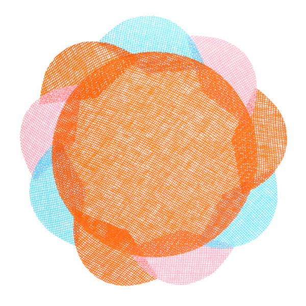Салфетка на стол 38см плетеная, Цветок оранжевая купить оптом и в розницу