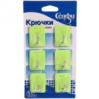 Набор крючков с липким слоем Селфи 1305-1 (6шт., нагрузка 1.5кг) зеленый купить оптом и в розницу