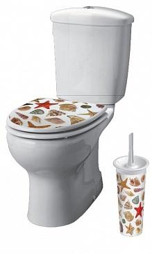"""Набор в ванную комнату """"Сиденье на унитаз и ерш туалетный"""" декор Звезда купить оптом и в розницу"""