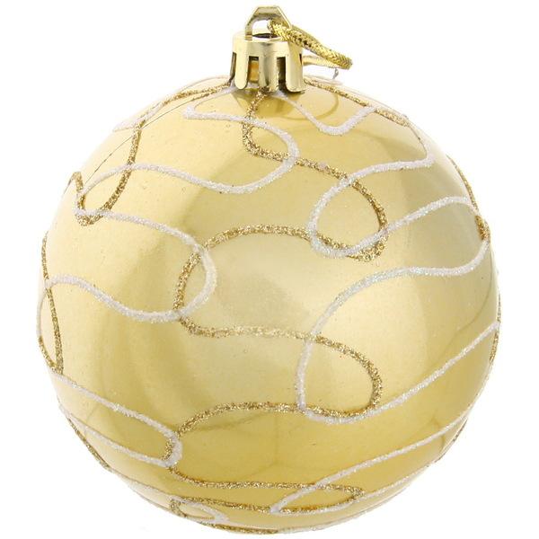 Новогодние шары ″Золото″ 8см (набор 3шт.) купить оптом и в розницу