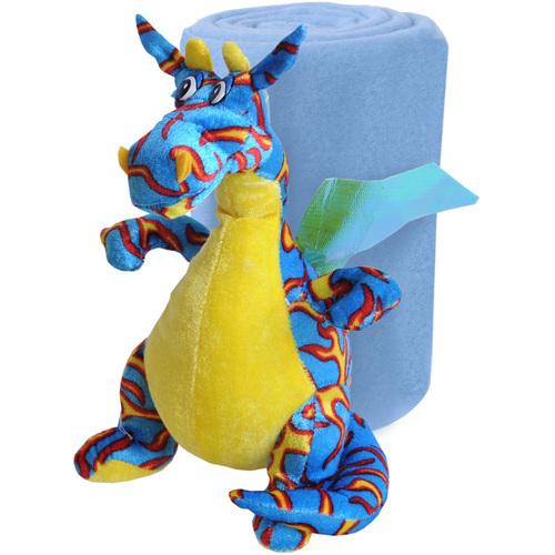 Набор ″Пестрый Дракон″: Плед флисовый 100*75см+игрушка мягконабивная 23см купить оптом и в розницу