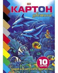 """Картон цветной А5, 10л, 10цв, склейка, HATBER, """"Дельфины"""" купить оптом и в розницу"""