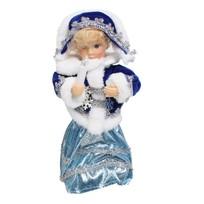 Снегурочка музыкальная 30см со свечой в синей шубе купить оптом и в розницу