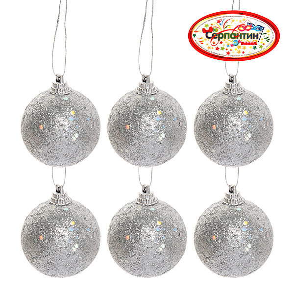 Новогодние шары ″Серебро″ 5см (набор 6шт.) купить оптом и в розницу
