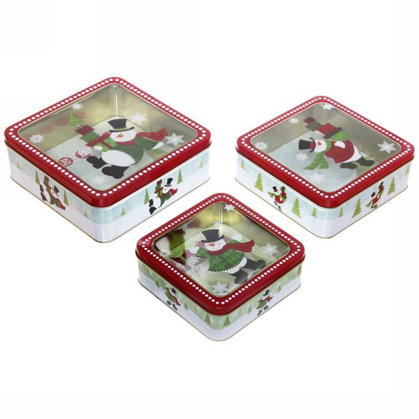 Набор банок жестяных 3шт ″Снеговики″ (400,700,1200мл) купить оптом и в розницу