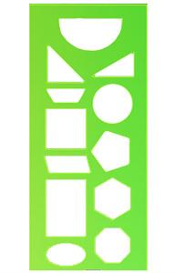 Трафарет геометрических фигур пласт.4цв купить оптом и в розницу