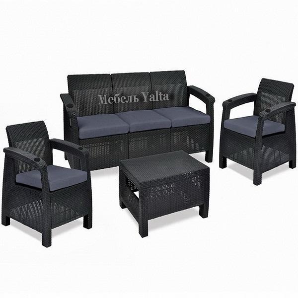 Комплект садовой мебели (3х местный диван +2 кресла+ столик)  Yalta Triple Set   Цвет венге купить оптом и в розницу
