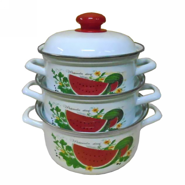 Набор эмалированной посуды 3 предмета ″Арбузный фреш″ (1,5л, 2л, 3л) С-124АП2/4 купить оптом и в розницу