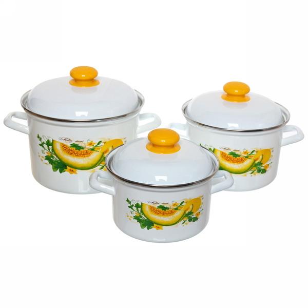 Набор посуды эмалированной 3 предмета ″Дынный фреш″ (2л, 3л, 4,5л) С-007АП2/4 купить оптом и в розницу