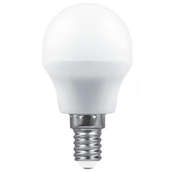 Лампа светодиодная ШАР 5 Вт E14 4000K 400Lm матовый SAFFIT мини SBG4505 Feron купить оптом и в розницу