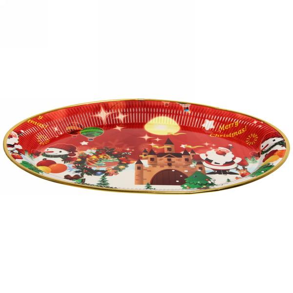 Поднос пластиковый ″Дед Мороз и снеговик″ 43*32см купить оптом и в розницу