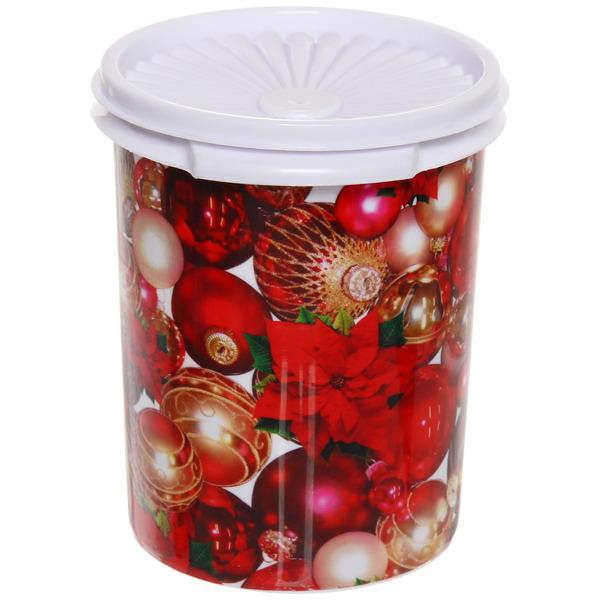 Банка пластиковая 12*15см ″Новый год″ с крышкой купить оптом и в розницу