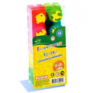 Набор ДТ Пальчиковые краски 10цв.+штампики Т1507 купить оптом и в розницу