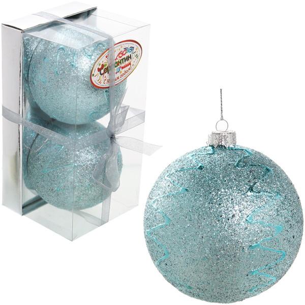 Новогодние шары ″Ледовая ель″ 8см (набор 2шт.) купить оптом и в розницу