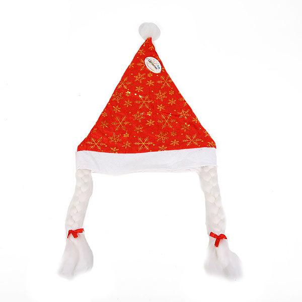 Колпак новогодний красный ″Снежинки″ 28*38см купить оптом и в розницу