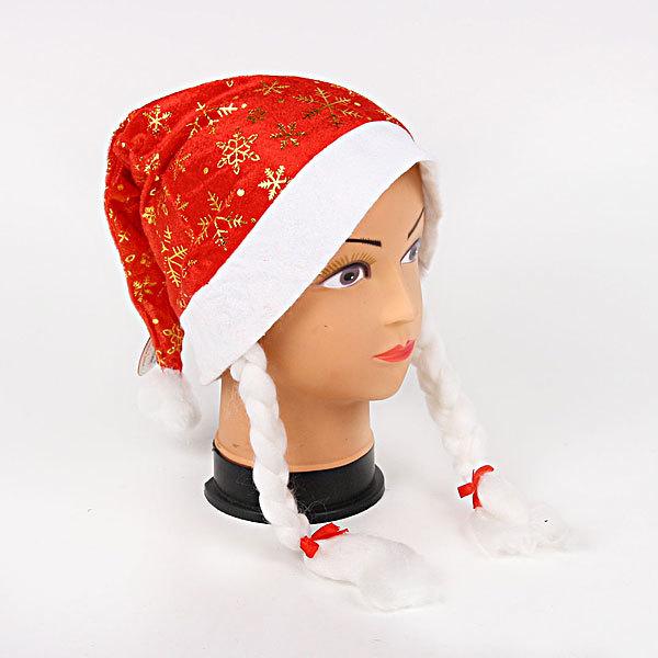 Колпак новогодний с косами красный ″Снежинки″ 28*38см купить оптом и в розницу