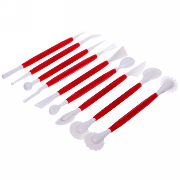 Инструменты для украшения тортов в наборе 9шт бордовые купить оптом и в розницу