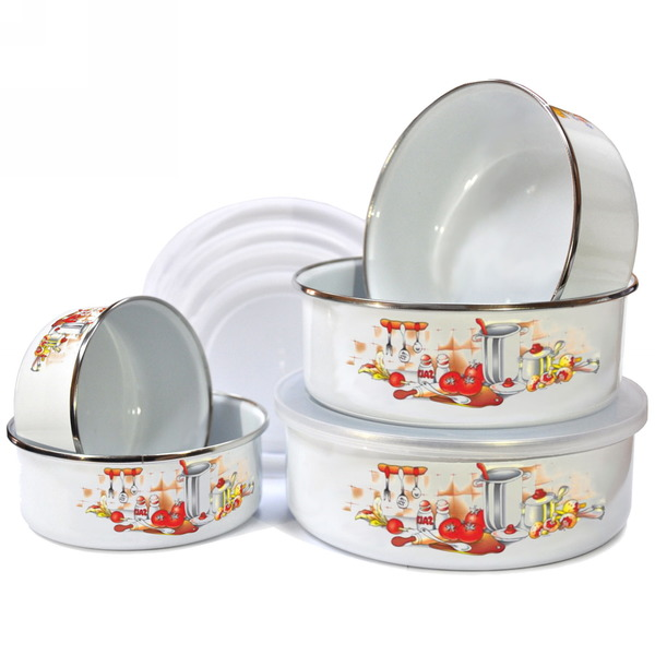 Набор эмалированных контейнеров с крышкой 5шт 10, 12, 14, 16, 18см купить оптом и в розницу