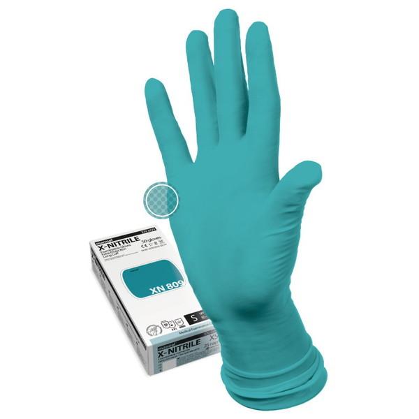 Перчатки MANUAL XN809 нитриловые нестерильные неопудреные повышеной прочности 25 пар S купить оптом и в розницу