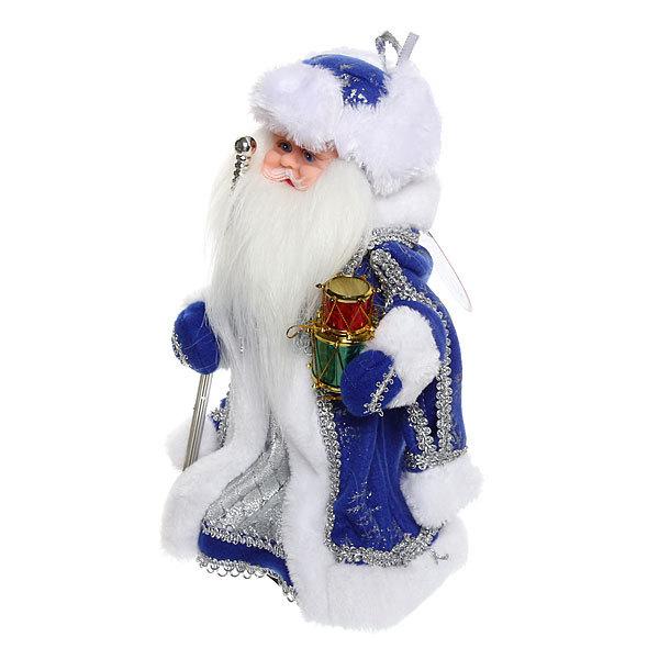 Дед Мороз музыкальный 30см с посохом и барабанами купить оптом и в розницу