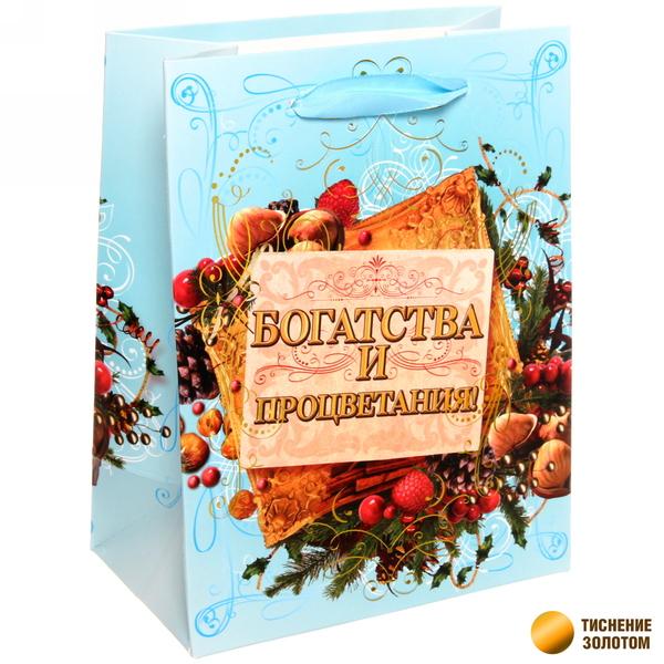 Пакет 14х18 см усиленный с золотом ″Богатства и процветания″, Ореховый праздник, вертикальный купить оптом и в розницу