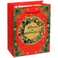 Пакет подарочный 14х18 см вертикальный ″Удачи и радости″, Мандариновые дни купить оптом и в розницу