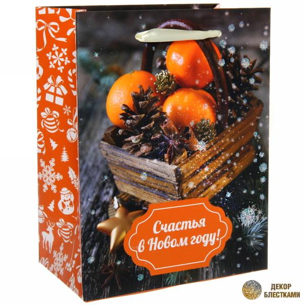 Пакет 14х18 см усиленный с блестками ″Счастья в новом году!″, Вкус праздника, вертикальный купить оптом и в розницу