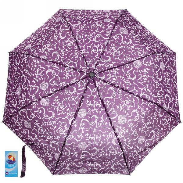 Зонт женский полуавтомат ″Узоры″, 8 спиц, d-100см, длина в слож. виде 28см купить оптом и в розницу