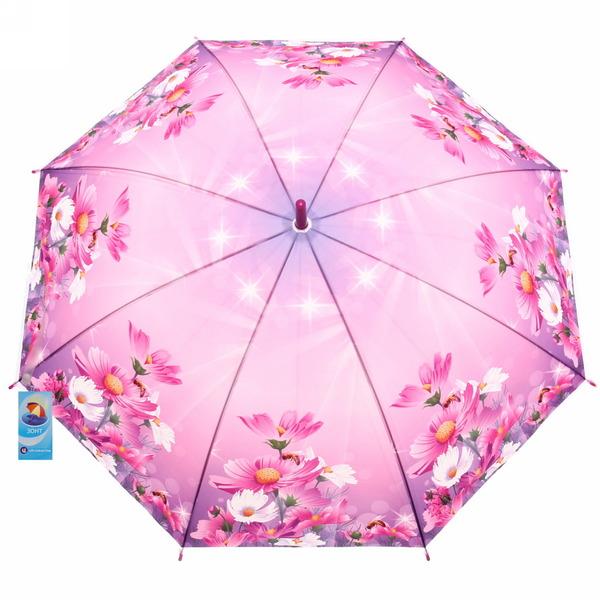 Зонт-трость женский купол ″Нежные цветы″ микс 6 расцветок, 8 спиц, d-100см, длина в слож. виде 28см купить оптом и в розницу