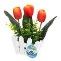 Цветок искусственный ″Тюльпаны″ 3шт в заборчике красные 852403 купить оптом и в розницу