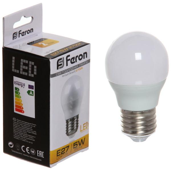 Лампа светодиод. ШАР 5Вт E27 2700K G45 LB-38 Feron купить оптом и в розницу