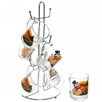 Набор кружек 6шт 250мл ″Снеговик с подарками″ на металлической стойке D55029/06 купить оптом и в розницу