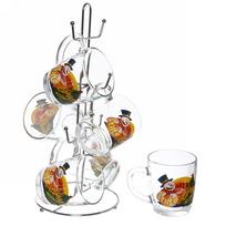 Набор кружек 6шт 350мл ″Снеговик с подарками″ на металлической стойке D55531/06 купить оптом и в розницу